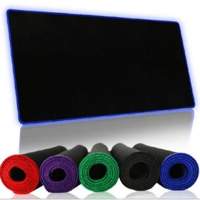 包邮游戏鼠标垫大锁边键盘垫办公桌垫大鼠标垫桌垫天然橡胶布面 蓝色